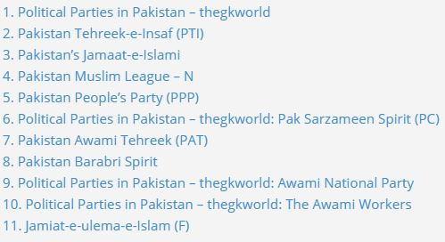Political Parties in Pakistan - thegkworld