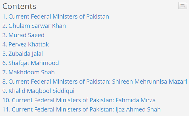 Current Federal Ministers of Pakistan